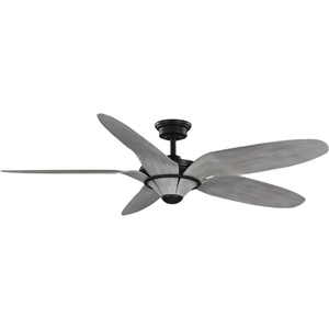 """Mesilla Collection 60"""" Five-Blade Gray Weathered Wood/Black Indoor/Outdoor DC Motor Urban Industrial Ceiling Fan"""