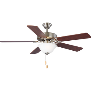"AirPro Collection 52"" Five-Blade Ceiling fan with White Etched Light Kit"