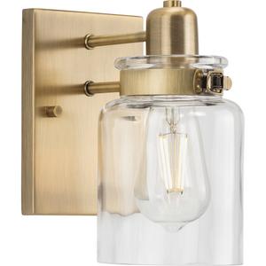 Calhoun Collection  One-Light Vintage Brass Clear Glass Farmhouse Bath Vanity Light
