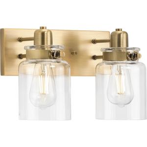 Calhoun Collection Two-Light Vintage Brass Clear Glass Farmhouse Bath Vanity Light
