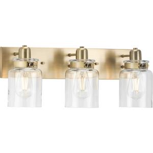 Calhoun Collection Three-Light Vintage Brass Clear Glass Farmhouse Bath Vanity Light