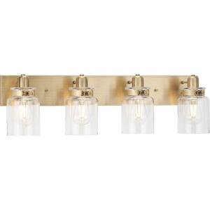 Calhoun Collection Four-Light Vintage Brass Clear Glass Farmhouse Bath Vanity Light