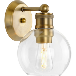 Hansford Collection  One-Light Vintage Brass Clear Glass Farmhouse Bath Vanity Light