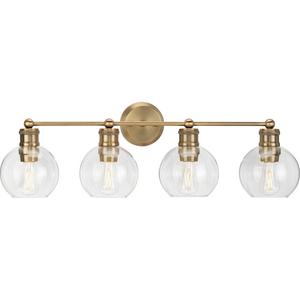 Hansford Collection Four-Light Vintage Brass Clear Glass Farmhouse Bath Vanity Light