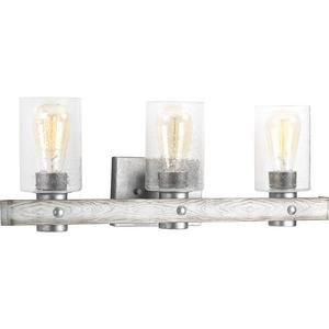 Gulliver Collection Three-Light Galvanized Finish Clear Seeded Glass Coastal Bath Vanity Light