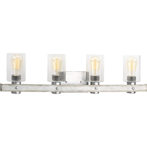 Gulliver Collection Four-Light Galvanized Finish Clear Seeded Glass Coastal Bath Vanity Light