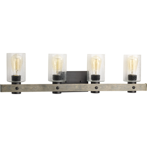 Gulliver Collection Four-Light Graphite Clear Seeded Glass Coastal Bath Vanity Light