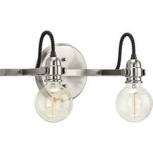 Axle Collection Two-Light Brushed Nickel Vintage Style Bath Vanity Wall Light