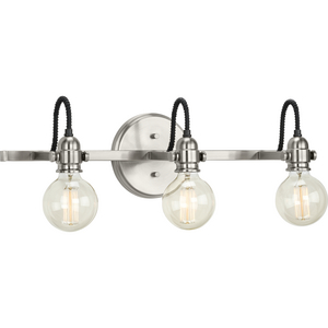Axle Collection Three-Light Brushed Nickel Vintage Style Bath Vanity Wall Light