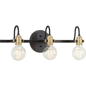 Axle Collection Three-Light Antique Bronze Vintage Style Bath Vanity Wall Light
