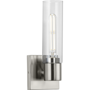 Clarion Collection One-Light Brushed Nickel and Clear Glass Modern Style Bath Vanity Wall Light
