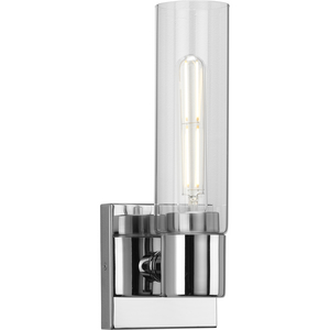 Clarion Collection One-Light Polished Chrome and Clear Glass Modern Style Bath Vanity Wall Light
