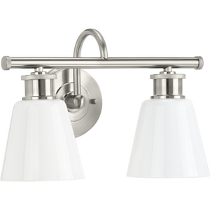 Ashford Collection Two-Light Brushed Nickel and Opal Glass Farmhouse Style Bath Vanity Wall Light