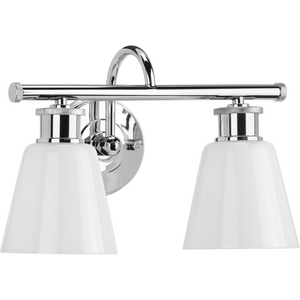 Ashford Collection Two-Light Polished Chrome and Opal Glass Farmhouse Style Bath Vanity Wall Light