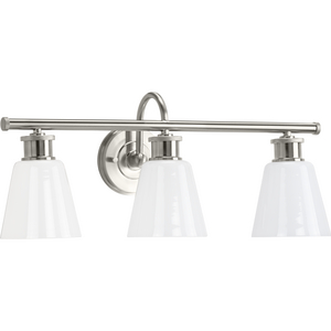 Ashford Collection Three-Light Brushed Nickel and Opal Glass Farmhouse Style Bath Vanity Wall Light