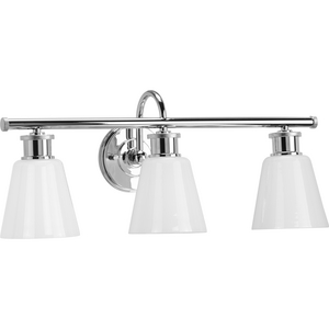 Ashford Collection Three-Light Polished Chrome and Opal Glass Farmhouse Style Bath Vanity Wall Light