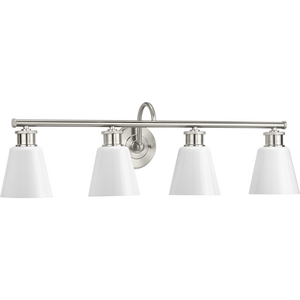 Ashford Collection Four-Light Brushed Nickel and Opal Glass Farmhouse Style Bath Vanity Wall Light