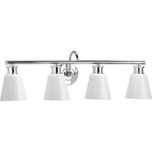 Ashford Collection Four-Light Polished Chrome and Opal Glass Farmhouse Style Bath Vanity Wall Light