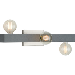 Mill Beam Collection Three-Light Brushed Nickel Industrial Style Bath Vanity Wall Light