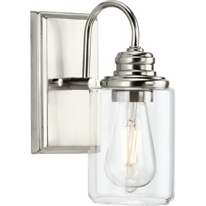 Aiken Collection One-Light Brushed Nickel Clear Glass Farmhouse Style Bath Vanity Wall Light