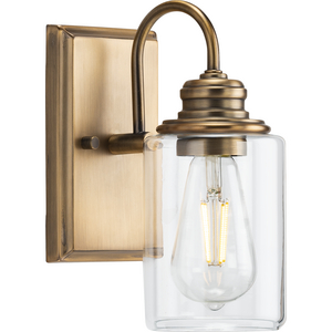 Aiken Collection One-Light Vintage Style Brass Clear Glass Farmhouse Style Bath Vanity Wall Light