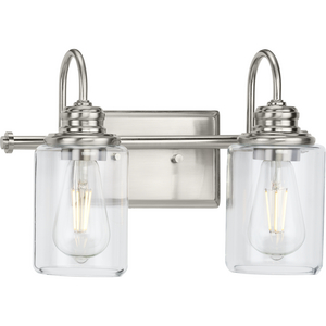 Aiken Collection Two-Light Brushed Nickel Clear Glass Farmhouse Style Bath Vanity Wall Light