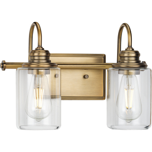 Aiken Collection Two-Light Vintage Style Brass Clear Glass Farmhouse Style Bath Vanity Wall Light