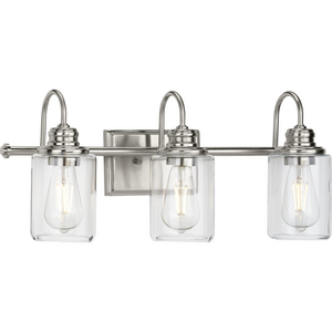 Aiken Collection Three-Light Clear Glass Brushed Nickel Farmhouse Style Bath Vanity Wall Light