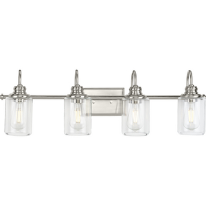 Aiken Collection Four-Light Brushed Nickel Clear Glass Farmhouse Style Bath Vanity Wall Light