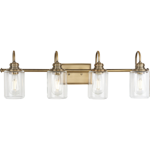 Aiken Collection Four-Light Vintage Style Brass Clear Glass Farmhouse Style Bath Vanity Wall Light