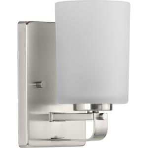 League Collection One-Light Brushed Nickel and Etched Glass Modern Farmhouse Bath Vanity Light