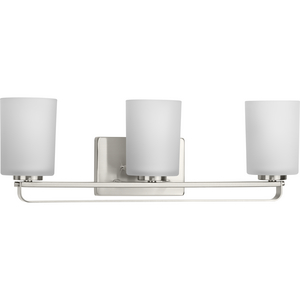 League Collection Three-Light Brushed Nickel and Etched Glass Modern Farmhouse Bath Vanity Light