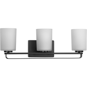 League Collection Three-Light Matte Black and Etched Glass Modern Farmhouse Bath Vanity Light