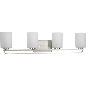 League Collection Four-Light Brushed Nickel and Etched Glass Modern Farmhouse Bath Vanity Light
