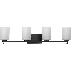 League Collection Four-Light Matte Black and Etched Glass Modern Farmhouse Bath Vanity Light