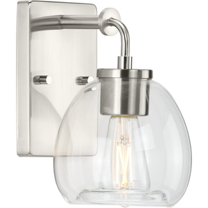 Caisson Collection  One-Light Brushed Nickel Clear Glass Urban Industrial Bath Vanity Light