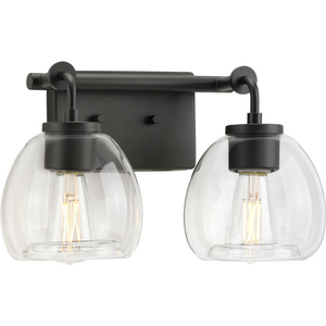 Caisson Collection Two-Light Graphite Clear Glass Urban Industrial Bath Vanity Light
