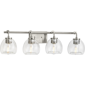 Caisson Collection Four-Light Brushed Nickel Clear Glass Urban Industrial Bath Vanity Light