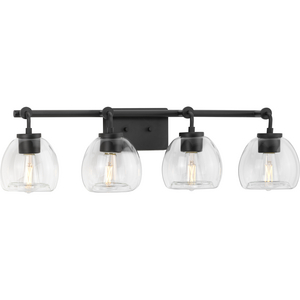 Caisson Collection Four-Light Graphite Clear Glass Urban Industrial Bath Vanity Light