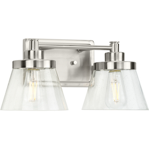 Hinton Collection Two-Light Brushed Nickel Clear Seeded Glass Farmhouse Bath Vanity Light