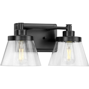 Hinton Collection Two-Light Matte Black Clear Seeded Glass Farmhouse Bath Vanity Light