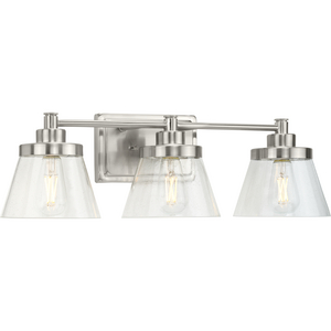 Hinton Collection Three-Light Brushed Nickel Clear Seeded Glass Farmhouse Bath Vanity Light