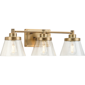 Hinton Collection Three-Light Vintage Brass Clear Seeded Glass Farmhouse Bath Vanity Light