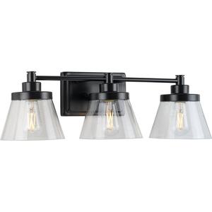 Hinton Collection Three-Light Matte Black Clear Seeded Glass Farmhouse Bath Vanity Light