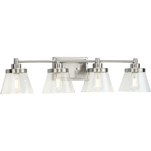 Hinton Collection Four-Light Brushed Nickel Clear Seeded Glass Farmhouse Bath Vanity Light