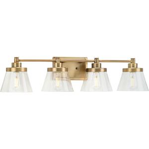 Hinton Collection Four-Light Vintage Brass Clear Seeded Glass Farmhouse Bath Vanity Light