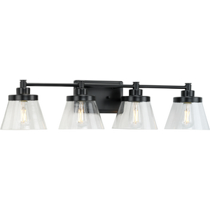 Hinton Collection Four-Light Matte Black Clear Seeded Glass Farmhouse Bath Vanity Light