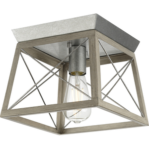 Briarwood Collection One-Light Galvanized and Bleached Oak Farmhouse Style Flush Mount Ceiling Light