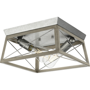 Briarwood Collection Two-Light Galvanized and Bleached Oak Farmhouse Style Flush Mount Ceiling Light
