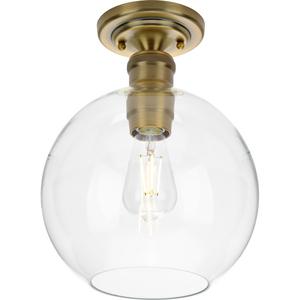 Hansford Collection  One-Light Vintage Brass Clear Glass Farmhouse Flush Mount Light